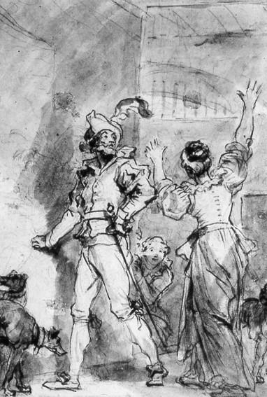 Honoré Fragonard, Don Quichotte cherchant en vain l'entrée de la bibliothèque, vers 1780, Londres, British Library.