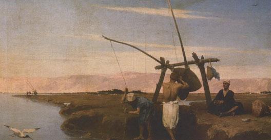 Un chadouf sur les bords du Nil, huile sur toile, JC Mouchot, 1874