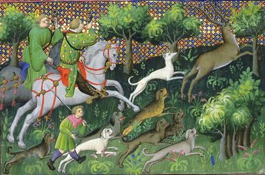 Le livre de chasse de Gaston Fébus (miniature, XIVe siècle, BNF, Paris)
