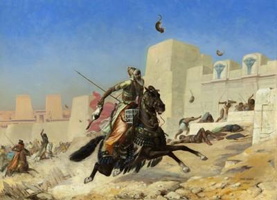 Lancer de chats « à la Perse ». Cambyse à Péluse, Paul-Marie Lenoir, peinture sur toile, 1872, collection privée.