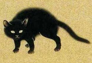 Chat noir (détail), estampe Hishida Shunso, XIXe siècle, musée Eisei Bunko, Tokyo.