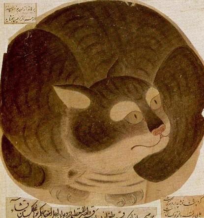 Chat boule, école Siyah Qalem, Hazine 2160, XVe siècle, Palais Popkapi, Istanbul, Turquie.