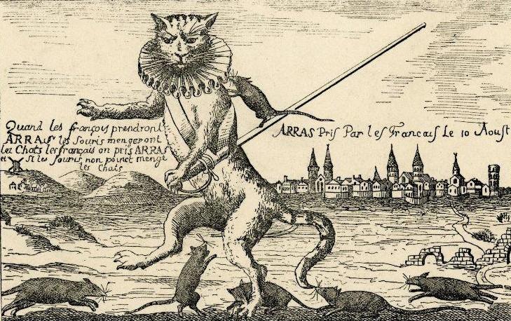 « Les chats et les rats », reproduction de l'estampe de J. Lagnet, XVIIe siècle, Zincographie, Archives départementales du Pas-de-Calais.