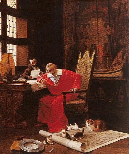 The Cardinal's Leisure, Charles Édouard Delort, peinture sur toile, avant 1885, Detroit Institute of Arts. Richelieu en compagnie de ses chats et du père Joseph.