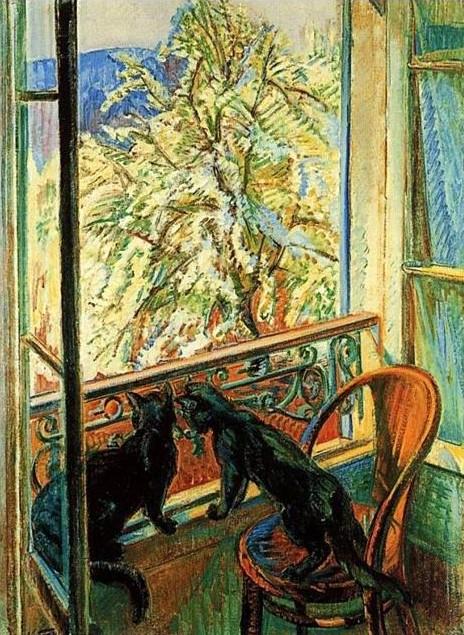 Chats à la fenêtre, Nicolas Tarkhoff, 1903, musée du Petit Palais, Genève, Suisse.