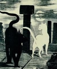 Le Rendez-vous des chats, lithographie  illustrant  la mise en vente de l'ouvrage de Jules Champfleury, Les Chats, Edouard Manet, 1868.