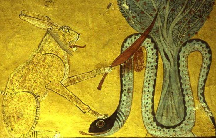 Chat d'Héliopolis décapitant le serpent Apophis, tombe d'Inherkhaou, Deir el-Medineh, Égypte.