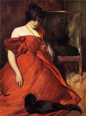 La fille au chat avec une robe rouge, John White Alexander, 1896, Brooklyn Art Museum, États-Unis.