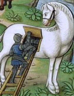 « L'Armée grecque se camouflant dans le cheval de Troie » : épisode de L'Énéïde, illustration du XVIe siècle, Paris, BnF.