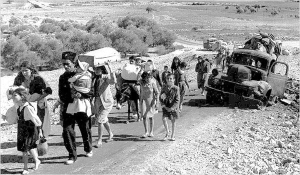 Réfugiés palestiniens lors de l'exode de 1948.