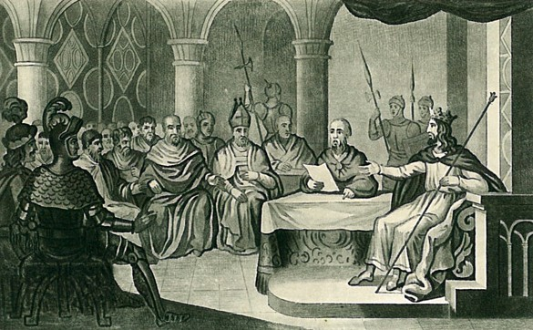 Illustration de l'extrait de l'édit du 3 juillet 1315 édicté par le roi de France Louis X le Hutin : « Selon le droit de Nature chacun doit naître franc ».