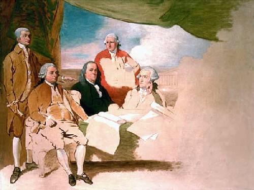 Signature du Traité de Paris, Benjamin West, 1783. Le commissaire britannique ayant refusé de poser, le tableau ne fut jamais terminé. Traité signé entre les représentants des treize colonies américaines et les représentants britanniques. La Grande-Bretagne reconnaît l'indépendance des États-Unis.