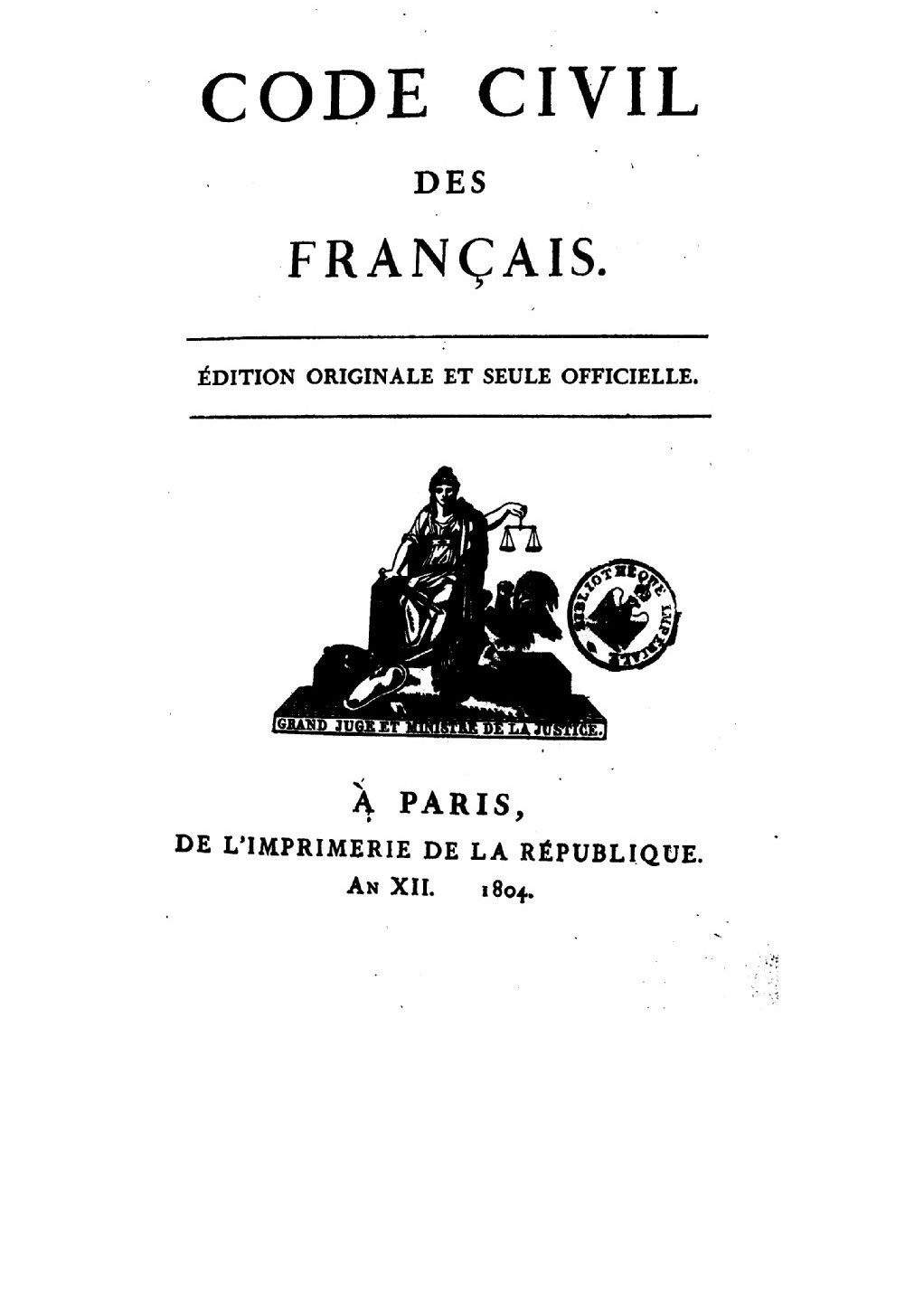 Couverture originale du Code civil, 1804, Gallica, Bnf.