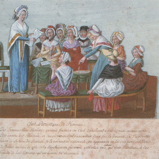 Club patriotique des femmes vers 1792 (gouache des frères Lesueur, musée Carnavalet, Paris)