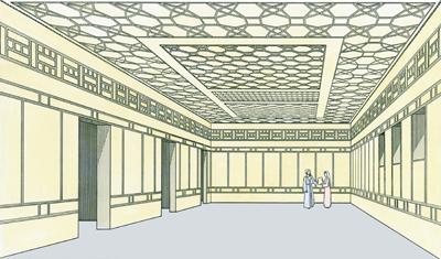 Palais du grand prêtre. Reconstitution de la salle de réception où Anne interrogea Jésus (©  Ritmeyer,Codex)