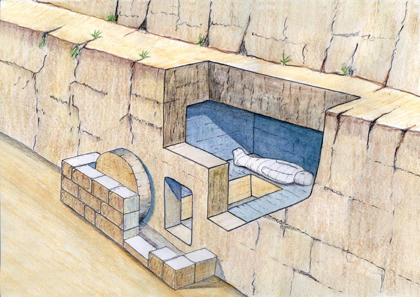 Une simple tombe creusée dans le roc accueillit Jésus. Reconstitution d'une tombe du 1er siècle (© Ritmeyer, Codex)