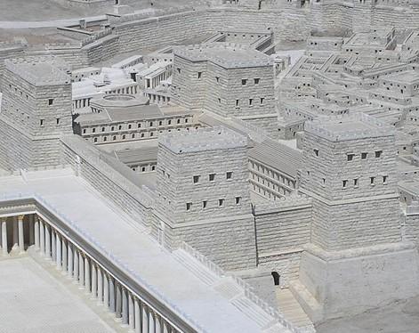 Une maquette de la forteresse Antonia, Musée d'Israël. Reconstruite par Hérode le Grand, elle est occupée, à l'époque de Jésus par la garnison romaine.