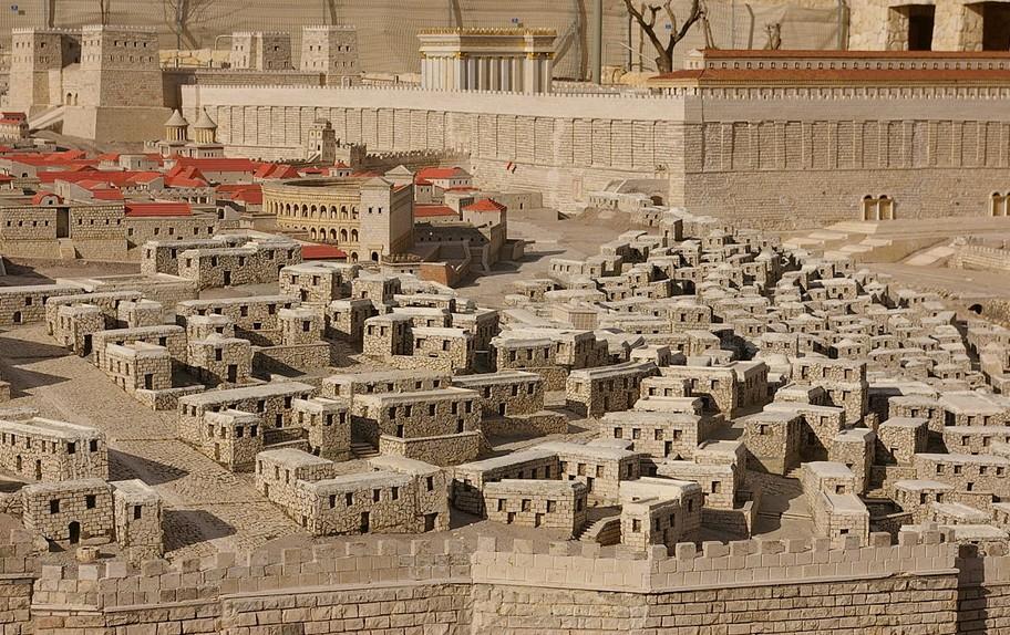 Maquette de Jérusalem au Ier siècle, Musée d'Israël. Au premier plan, la ville basse; au second plan, la forteresse d'Antonia (à gauche) et le Temple (à droite).