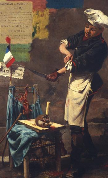 Le dépeceur de rats (image satirique du siège de Paris par Narcisse Chaillou, musée d'Art et d'Histoire de Saint-Denis)