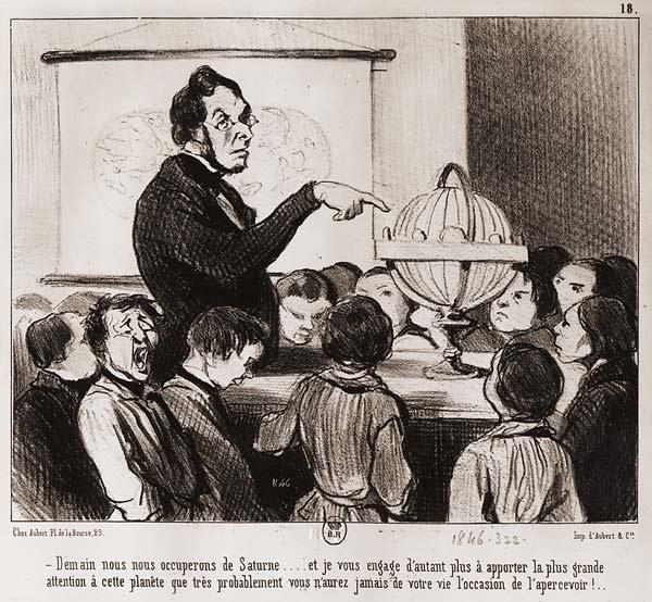 Caricature de Daumier sur l'école (BNF)