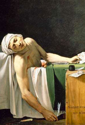 Marat assassiné, 13 juillet 1793 (Jacques-Louis David, musée du Louvre, 157x136 cm)