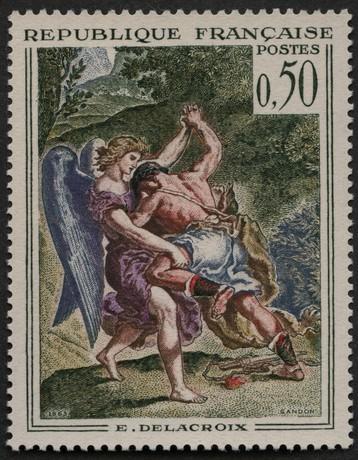 Le combat de Jacob et l'ange, par Delacroix (La Poste)