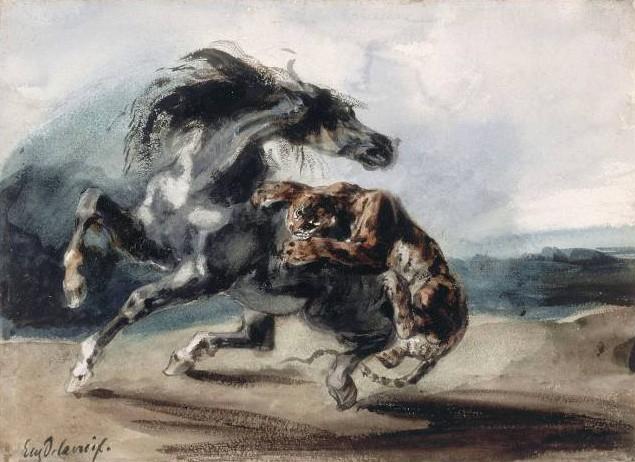 Eugène Delacroix, Tigre attaquant un cheval, 1826, Paris, musée du Louvre