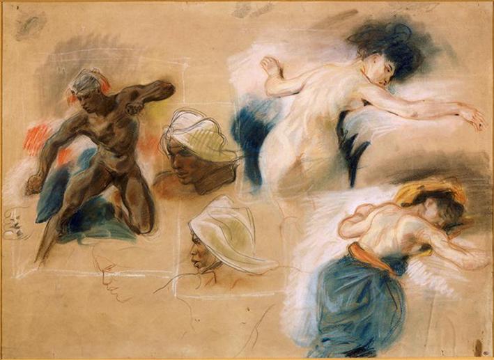 Eugène Delacroix, Recherches pour l'esclave étendu sur la couche de Sardanapale et l'éthiopien, vers 1827, Paris, musée du Louvre