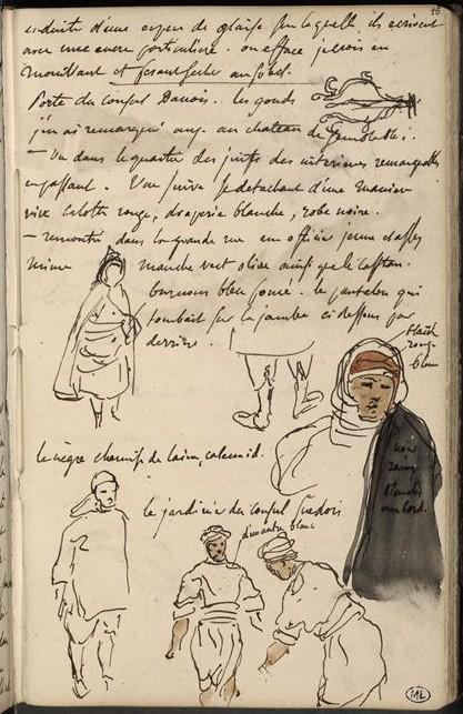 Eugène Delacroix, Croquis divers avec cinq croquis d'arabes et notes manuscrites, Album Delacroix, 1832, Paris, musée du Louvre