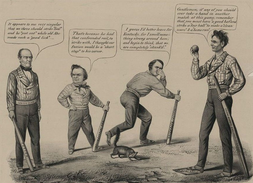 Campagne présidentielle de 1860. « The National game. Three outs and one run », (« Le jeu national. Trois hors-jeu et un vainqueur »). Dessin représentant les quatre candidats à l'élection présidentielle. De gauche à droite : John Bell, Stephen Douglas, John C. Breckinridge et Abraham Lincoln, Louis Maurer, Currier and Ives, 1860, Library of Congress, Washington. L'élection est comparée à un match de baseball.