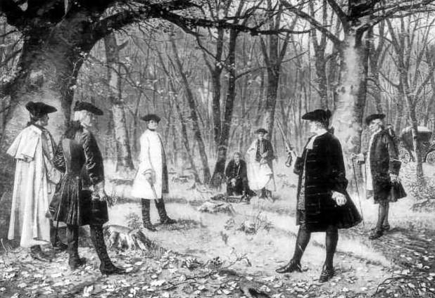 Duel entre Alexander Hamilton et Aaron Burr le 11 juillet 1804, d'après une peinture de J. Mund.