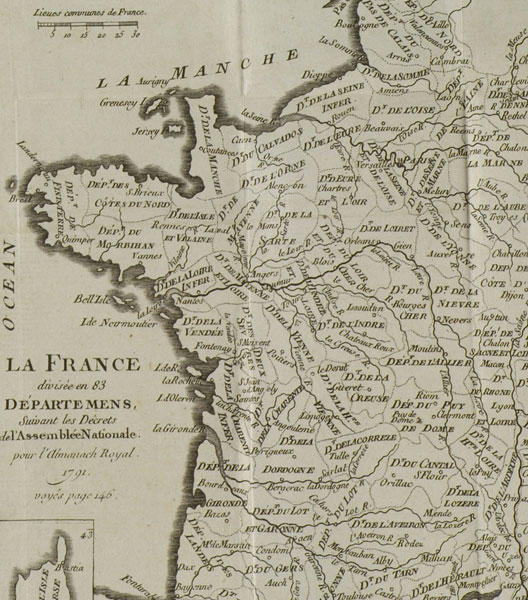 Les 83 départements de la France en 1791