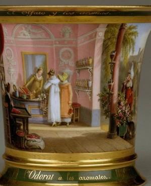 Develly Jean-Charles, Tasse du cabaret des cinq sens: l'Odorat et les épices, XIXe s., Paris, musée du Louvre