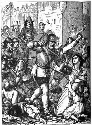 Le massacre de Drogheda (An Illustrated History of Ireland from AD 400 to 1800, par Mary Frances Cusack, gravures de Henry Doyle, 1868)