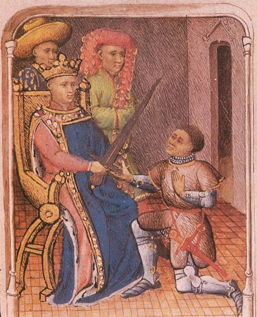 Du Guesclin reçoit l'épée de connétable des mains de Charles V (miniature, bibliothèque Sainte-Geneviève)