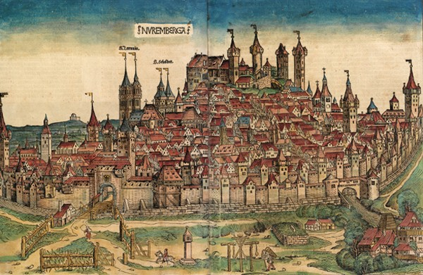 Nuremberg en 1493, illustration de la Chronique de Nuremberg d'Hartmann Schedel.