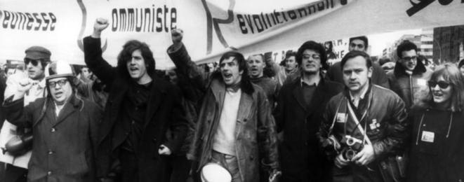 Rudi Dutschke et Alain Krivine (à sa gauche) lors d'une manifestation à Berlin-Ouest les 16-17 février 1968 (DR)