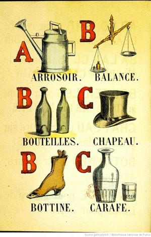 Alphabet illustré des objets familiers, 1873, BnF