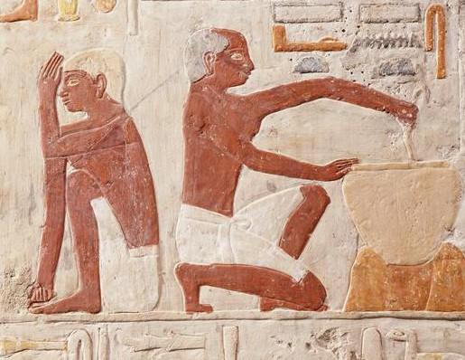 La fabrication et la cuisson du pain  (Moyenne dynastie, 2500 - 2350 avant J.-C. ,  calcaire peint,  Musée du Louvre / Les frères Chuzeville)