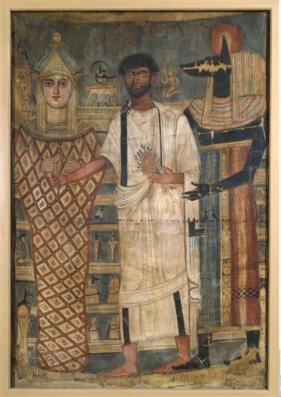 Le mort est présenté à Osiris par Anubis, époque romaine, Berlin, Ägyptisches Museum und Papyrussammlung