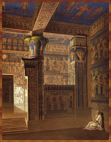 Vue perspective intérieure coloriée du temple de l'Ouest, Description de l'Egypte t. II, 1809-1829