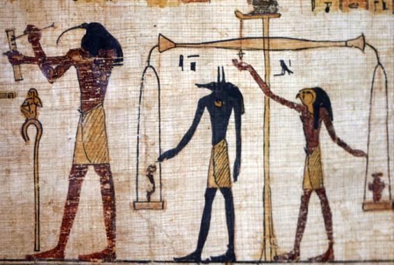 La pesée des âmes, papyrus du musée de Turin, photo : Gérard Grégor, pour Herodote.net