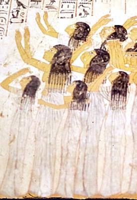 Les pleureuses, tombe de Ramosé (Thèbes), vers 1350 av. J.-C., photo : Gérard Grégor, pour Herodote.net