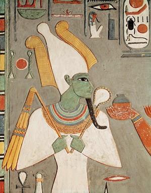 Osiris, fresque de la tombe d'Horemheb, Thèbes, vers 1290 av. J.-C.