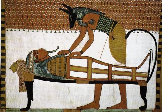 Momification par le dieu Anubis, tombe de Sennedjem, Deir-el-Médineh, vers 1250 av. J.-C.