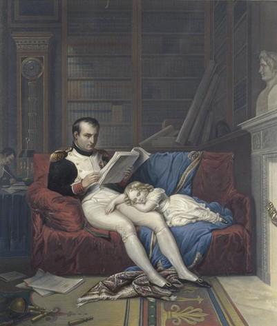 Le roi de Rome endormi sur les genoux de son père dans son cabinet de travail des Tuileries, œuvre présumée de Jean-Baptiste Isabey, 1815, musée national des châteaux de Malmaison et de Bois-Préau.
