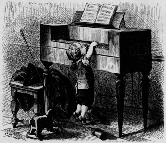 Le jeune Mozart au clavier, Carl Offerdinger, 1877, illustration extraite de la revue Bibliothèque de la jeunesse et de la famille publiée en 1873 à Leipzig, Allemagne.