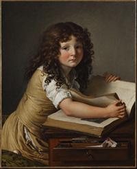 Benoît Agnès Trioson regardant des figures dans un livre, Anne-Louis Girodet-Trioson, 1797, musée Girodet, Montargis.