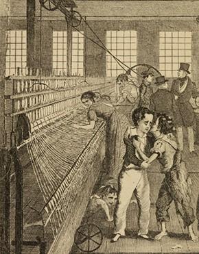 Illustration d'Auguste Hervieu, 1876, d'après le roman de Frances trollope, « La vie et les aventures de Michel Armstrong, le garçon d'usine », British Library, Londres.
