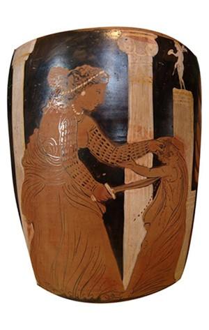 Médée tuant l'un de ses enfants. Face d'une amphore à col à figures rouges campanienne, Capoue, vers 330 av. J.-C., musée du Louvre, Paris.